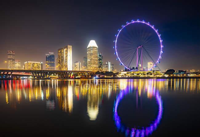 Singapur, la ciudad y la rueda grande por la noche - foto de stock