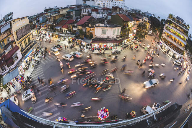 Vietnam, Hanoi, aerial view of the city most busy crossing — Stock Photo