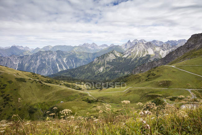 Germany, Bavaria, Allgaeu, Allgaeu Alps, View from mountain station Kanzelwand — Photo de stock