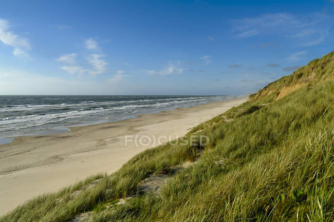 Denmark, Jutland, Lokken, dune landscape and North Sea — Stock Photo