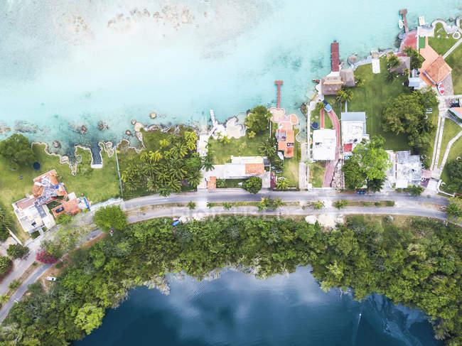 Масіко, Юкатан, Quintana Роо, лагуни Бакалар, зображення безпілотника — стокове фото