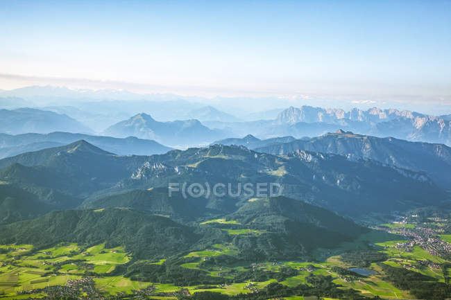 Germany, Bavaria, Chiemgau, Prien, Aerial view of Alps, Kampenwand in the foreground, Kaiser Mountains in the background — Stock Photo