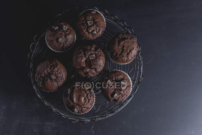 Muffins au chocolat sur le stand de gâteau — Photo de stock