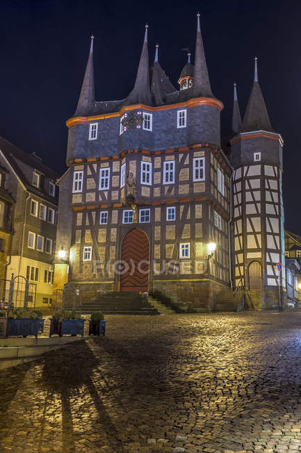 Germany, Hesse, Frankenberg, Townhall at night — Stock Photo