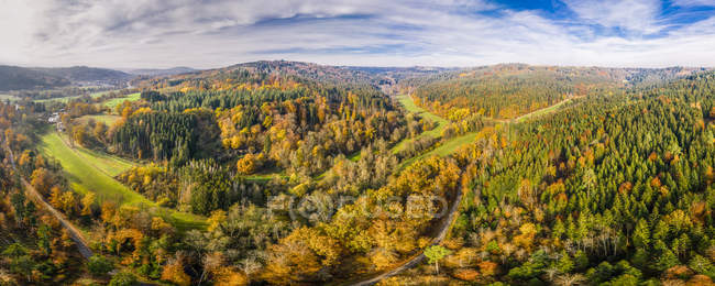 Germany, Baden-Wuerttemberg, Swabian Franconian forest, Aerial view of forest in autumn — Stock Photo