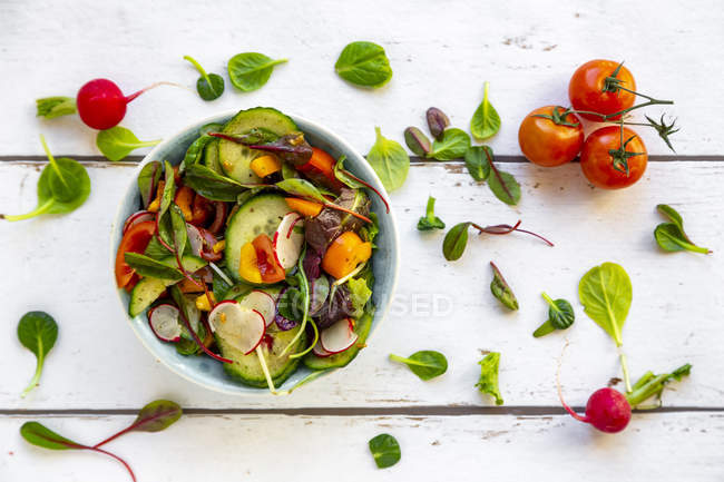 Salad with cucumber, tomato, red radish and bell pepper — Stock Photo