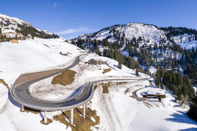 Австрія, Форарльберг, Allgaeuer Альпах, зима в Хохтанберґ пас — стокове фото