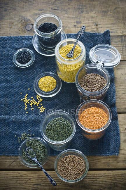 Збереження глеків різними видами сочевиці. — стокове фото