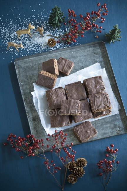 Pastel de chocolate casero en rodajas en bandeja para hornear - foto de stock