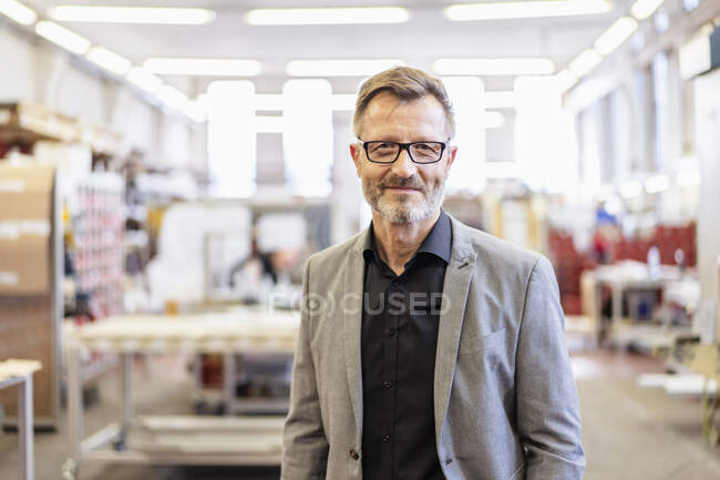 Portrait of confident businessman in factory — Stock Photo