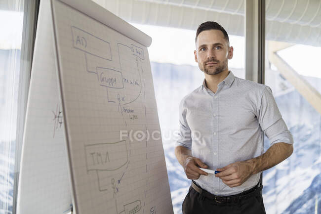 Businessman at flip chart in office — Stock Photo
