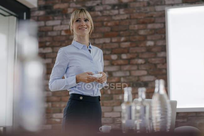 Successful businesswoman holding a presentation — Stock Photo
