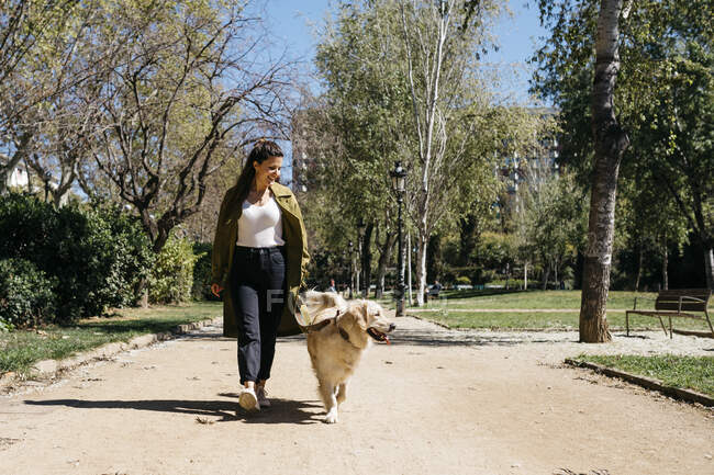 Happy woman going walkies in city park with her Labrador Retriever — Stock Photo