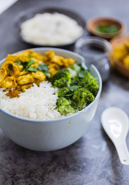 Rice with chicken curry and broccoli — Stock Photo
