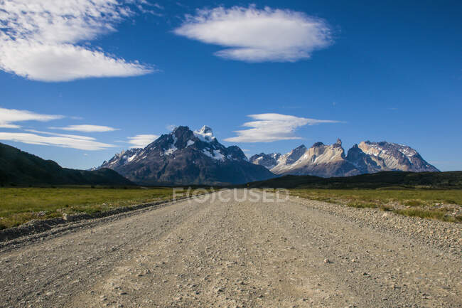 Chile, Patagonia, Straight road in the Torres del Paine National Park — Stock Photo