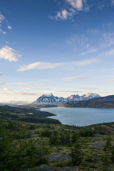 Chile, Patagonia, Late afternoon light in Torres del Paine National Park — Stock Photo