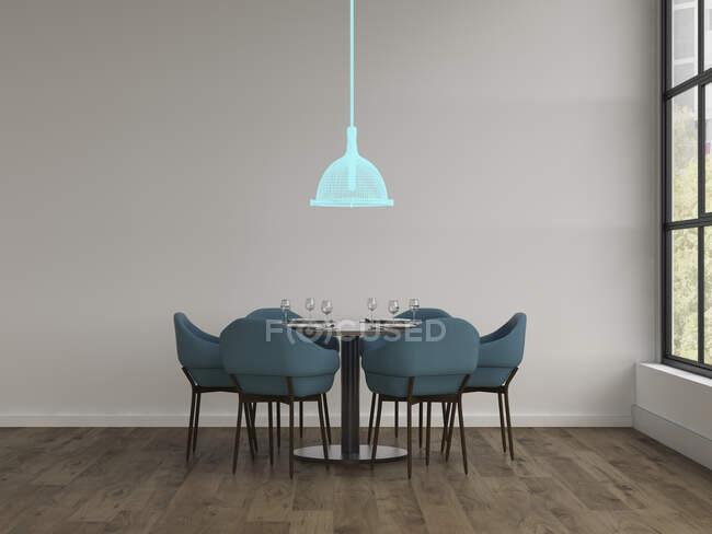 3D rendering, Hologram of ceiling lamp in modern dining room — Stock Photo