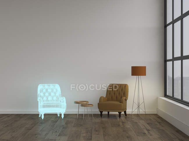 3D rendering, Hologram of armchair in modern living room with floor lamp — Stock Photo