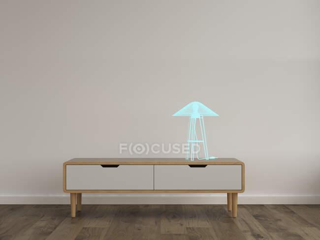 3D rendering, Hologram of table lamp on sideboard in modern room — Stock Photo