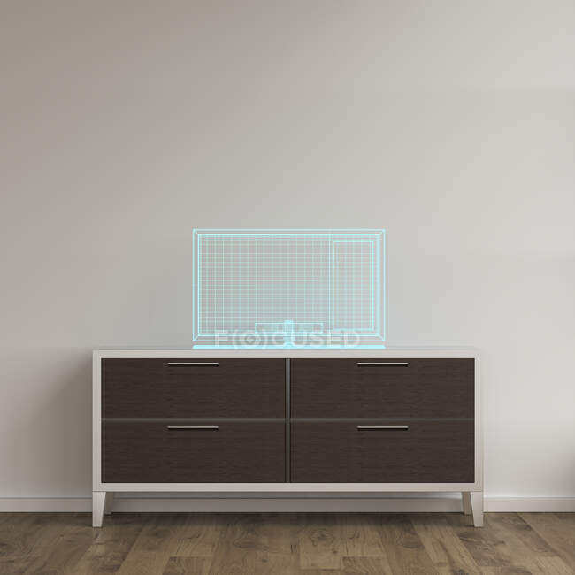 3D rendering, Holgram of a TV set on a sideboard — Stock Photo