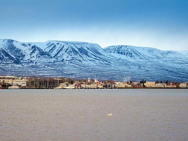 Iceland, Townscape of Akureyri with the harbor before sunset in winter — Stock Photo