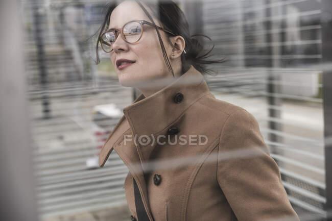 Portrait of businesswoman looking around — Stock Photo