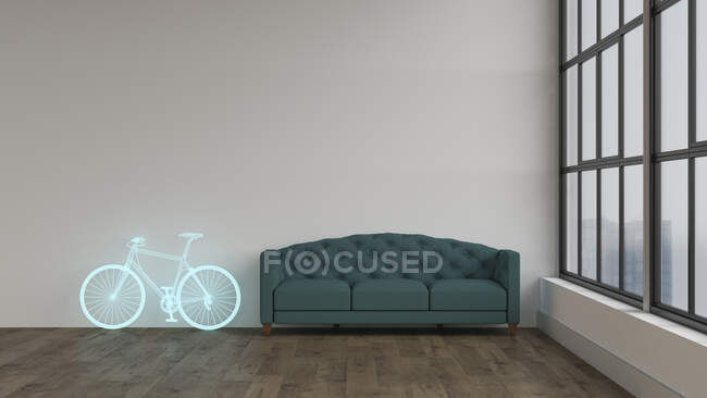 3D rendering, Hologram of bicycle in modern room, next to couch — Stock Photo