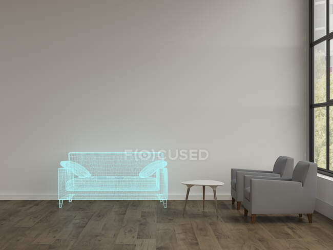 3D rendering, Hologram of couch in modern livingroom with armchairs — Stock Photo