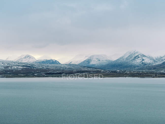 Iceland, Dramatic scenery near Akureyri in winter at sunset — Stock Photo