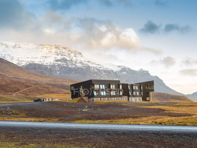Iceland, modern building near Vatnajokull national park in winter — Stock Photo