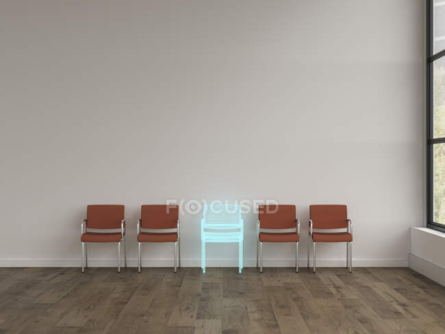 3D rendering, Hologram of chair in modern room with row of different chairs — Stock Photo