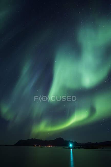 Norway, Lofoten Islands, Eggum, Northern lights — Stock Photo