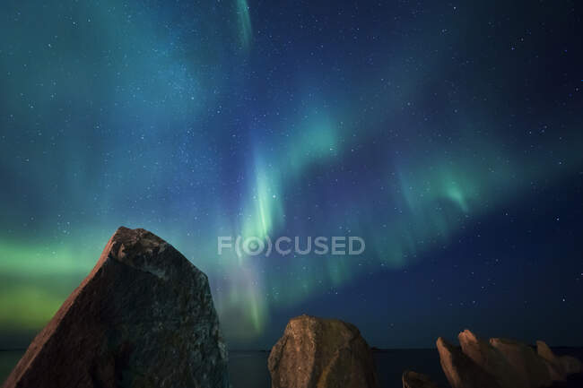 Norway, Lofoten Islands, Eggum, Northern lights at starry sky — Stock Photo