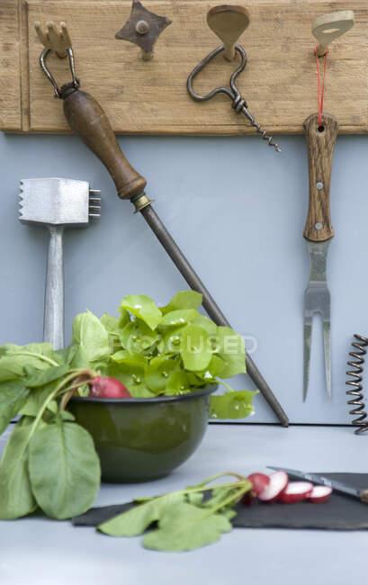 Großaufnahme von aufgewerteten Küchenutensilien — Stockfoto