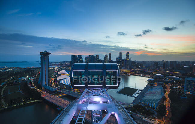 Skyline from Singapore Flyer Ferris Wheel, Singapore — стокове фото