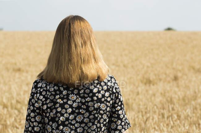 Задний вид женщины, стоящей перед зерновым полем — стоковое фото