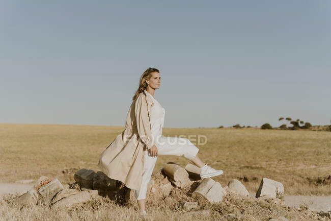Female traveller looking at distance — Stock Photo