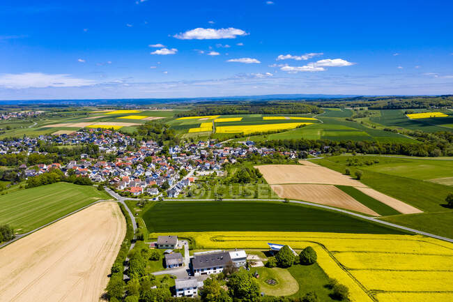 Aerial view of rape fields and cornfields near Usingen and Schwalbach, Hesse, Germany — Stock Photo