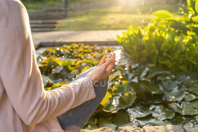 Молодая женщина медитирует в парке, мудра — стоковое фото