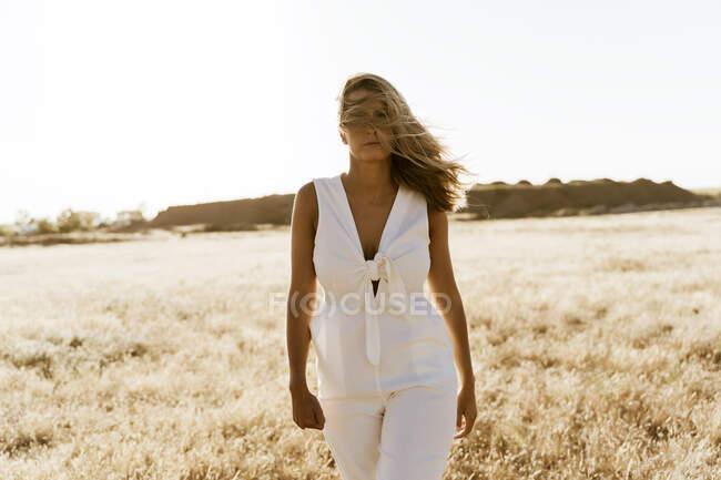 Female traveller, hair on the face — Stock Photo