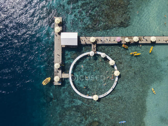 Aerial view of tourist attractions, Kutampi beach, Nusa Penida island, Bali,Indonesia — Stock Photo