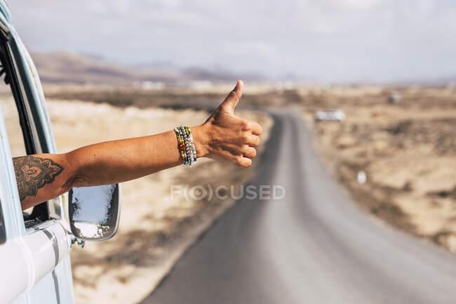 Мандрівник сидить у фургоні, показуючи великий палець у вікно. — стокове фото