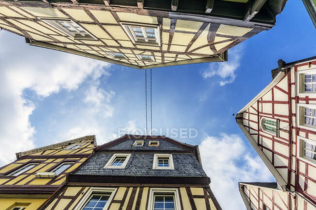 Germany, Rhineland-Palatinate, Linz am Rhein, Old town, half-timbered house, worm's eye view — Stock Photo