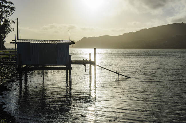 Подсветка рыбацкой хижины на полуострове Отаго, Южный остров, Новая Зеландия — стоковое фото