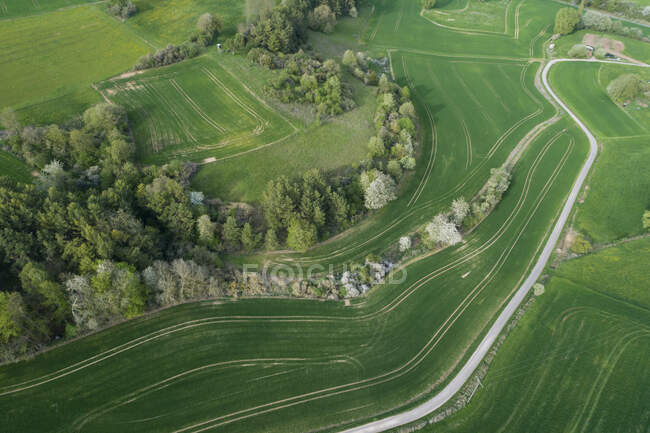 Vista aérea del camino rural a través del paisaje con prados, árboles y campos agrícolas, primavera, Franconia, Baviera, Alemania - foto de stock