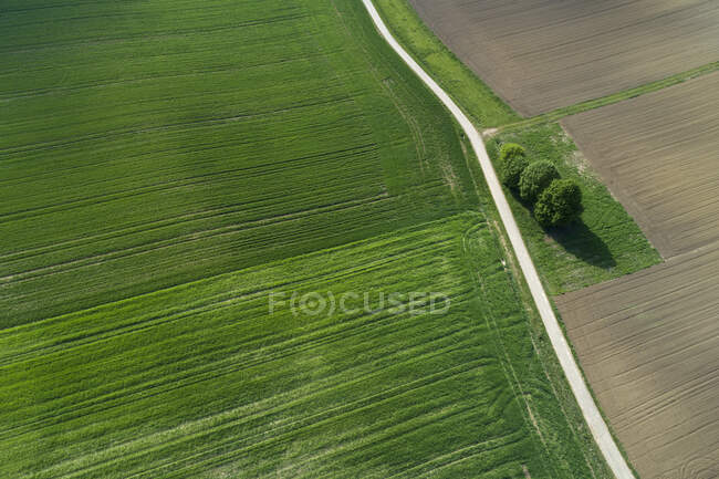 Aerial view of rural road through agricultural fields. Franconia, Bavaria, Germany — Stock Photo