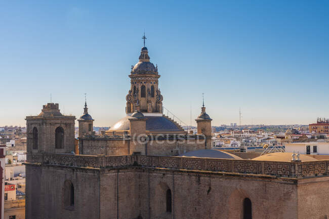 Iglesia de la Anunciacion and historic center in seen from Setas de Seville, Seville, Spain — Stock Photo
