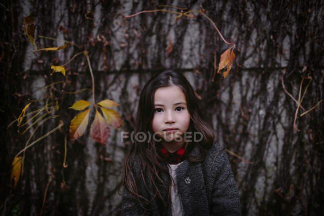 Портрет маленькой девочки осенью — стоковое фото