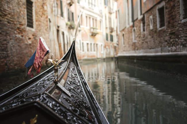 Bow of a gondola, Venice, Italy — Stock Photo