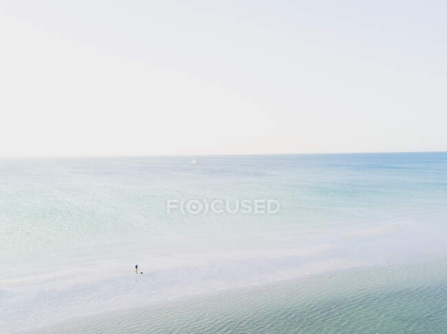 Aerial view of a man on a sandbank in the sea, Holbox, Yucatan, Mexico — Stock Photo